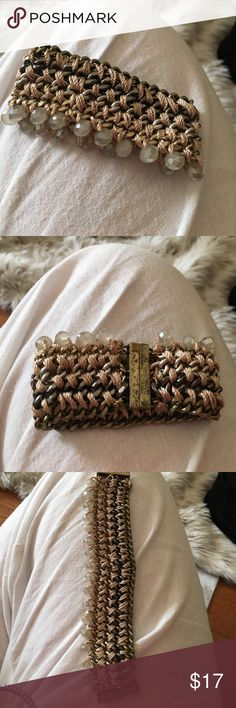Bracelet Very different cloth weaved into chain and has beads all down into the bottom. So pretty magnetic closure express Jewelry Bracelets