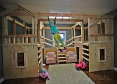 DIY Basement Indoor Playground with Monkey Bars (Ana White) Indoor Playhouse, Build A Playhouse, Indoor Playset, Outdoor Playhouses, Playhouse Ideas, Backyard Playhouse, Diy Playground, Pallet Furniture, Furniture Plans