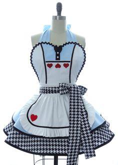 Retro Apron - Alice in Wonderland Sexy Womans Aprons - Vintage Apron Style - Wonderland Pin up Hero Rockabilly Cosplay