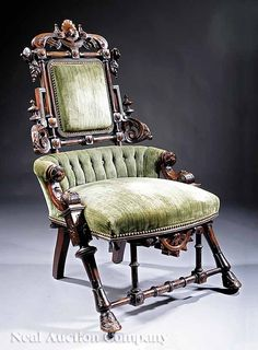 "Renaissance Revival Side Chair, c1870, George Hunzinger, (1866-98), 41""t, 18k"