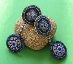Cobalt Blue Beaded Statement Clip Earrings by LisaPierceJewelry, $165.00