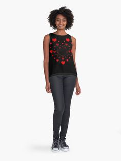 """""""Hearts for my Valentine"""" Sleeveless Top by iRenza Best Friend Shirts, Dad To Be Shirts, Cute Casual Outfits, Chic Outfits, Love Shirt, Red Glitter, Cute Tops, Streetwear Fashion, Beautiful Outfits"""