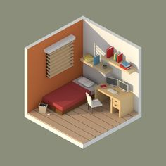 ArtStation - Low Poly Isometric Rooms, Erin Lim Isometric Art, Isometric Design, 3d Design, Game Design, House Design, Low Poly, Model House Plan, Modelos 3d, Sims House