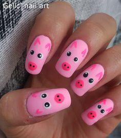 Gelic' nail art: pig #nail #nails #nailart