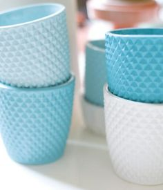 Squares Cups from Lenneke Wispelwey Danish designer Lenneke Wispelwey's sets of dishware, vases, and home accessories match pretty shades...
