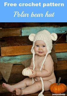Free crochet pattern polar bear hat by jennyandteddy