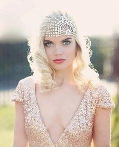 1920s bridal hair - willowmoone 1920s wedding headpiece lace white bling.jpg