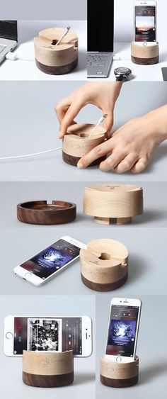 Wooden Charge Cord Cable Organizer iPhone SmartPhone Charging Station Stand Dock Mount Holder