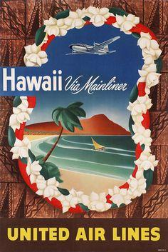 Vintage Travel Posters, Vintage Airline, Poster Vintage, United Airlines, Hawaii Travel, Hawaii Hawaii, Oahu Vacation, Airline Travel, Vintage Hawaii