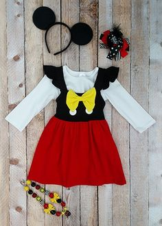 Minnie Mouse style flutter sleeve dress with white shirt for layering. Any other accessories shown are not included. Toddler Boutique Clothing, Wholesale Children's Boutique Clothing, Girls Boutique, Mommy And Me Outfits, Cute Girl Outfits, Cut Out Leggings, Denim Overall Dress, Toddler Dress, Minnie Mouse
