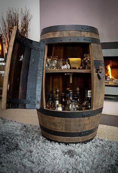 Shaker Style Cabinets, Wine Cabinets, Rustic Wine Cabinet, Modern Home Bar, Wine Barrel Furniture, Barrel Bar, Barrel Projects, Home Bar Designs, Drinks Cabinet