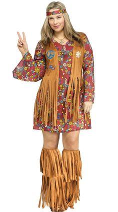 Plus Size Flower Child Hippie Costume