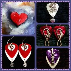 Love never goes out of style! White rose guitar pick necklace with heart charm $21, red Hope earrings $21, purple silver Metallic Love necklace $26, red silver Metallic Heart earrings with swirl charms $26 - purchase thru our website