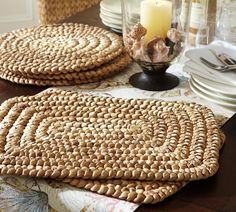 We love these thick woven Water Hyacinth Recangular Place Mats that come in a set of 4.  Perfect to add texture and create a casual table setting!