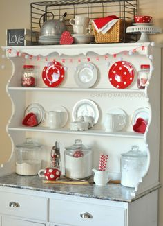 Red And White Polka Dot Valentine Hutch! #valentinesdecor