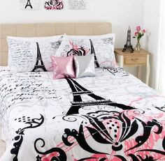 Eiffel Tower Bedding for Teens | Stunning Paris Eiffel Tower Black Flocking Queen Size Quilt DOONA ...