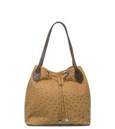 Chimpel Ostrich Leather Bucket Handbag Full With Contrasting Handle Cape Town