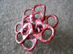 Original, Handmade Tab Ring with Ribbon and Glitter Glue   Size - 8