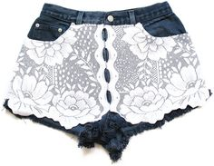 High waisted shorts with lace lace shorts S by deathdiscolovesyou, $30.00
