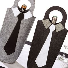 Diy fête des pères : créer un sac en feutrine pour bouteille. Une fiche créative proposée par Wesco Family