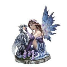 Purple Fairy with Silver Dragon Statue - CC9016 by Medieval Collectibles