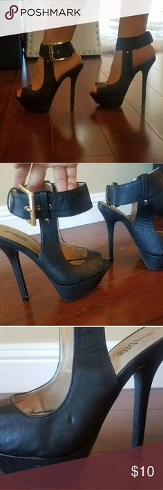 Open toe heels Peep toe heels with buckle ankle strap. Only worn a couple times. Small indent on side as seen in pic. But good condition other then that. Charlotte Russe Shoes Heels
