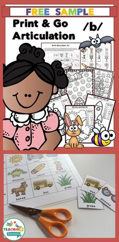 Articulation Print & Go for /b/ - Freebie! by teachingtalking.com