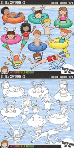 Swimming kids clip art for teachers! Contains coloured clipart + black and white outlines all at 300 dpi for highest quality printing for your teaching resources and projects! Hand-drawn clip art by Kate Hadfield Designs at Teachers Pay Teachers. Art Drawings For Kids, Drawing For Kids, Easy Drawings, Art For Kids, Summer Crafts, Summer Art, Projects For Kids, Art Projects, Little Swimmers