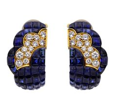 FD GALLERY | Van Cleef & Arpels | A Pair of Mystery-Set Sapphire and Diamond Ear Clips