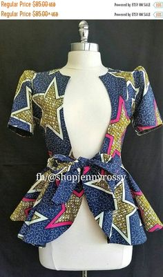 ON SALE ROSE African print top,Ankara jacket, African print women Blouse Peplum Top