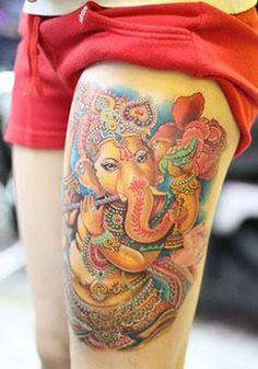 The design that inspired my own Ganesha design for my back piece. coming soon.
