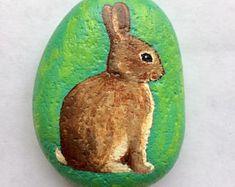Bunny painted rock by Alison Kolesar