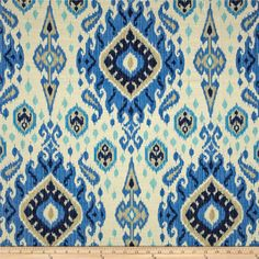 Swavelle Mill Creek Kennebecc Ikat River - teal and blue ikat fabric