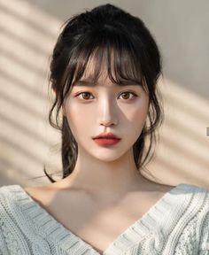 Korean Beauty Girls, Pretty Korean Girls, Cute Korean Girl, Asian Beauty, Korean Bangs Hairstyle, Hairstyles With Bangs, Ulzzang Hairstyle, Korean Girl Photo, Aesthetic Hair