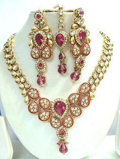 hot pink gold tone kundan cz bead necklace set