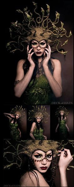 Amazing theatrical fantasy fashion costume head wear , Medusa snake crown for our mythological circus costume freaks HDrs 68