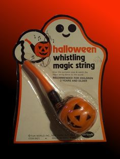 """Vintage Halloween Collectible ~ Halloween Whistling Magic String Pipe by Fun World. * """"Blow the pumpkin pipe & watch the magic string dance to the sound."""""""