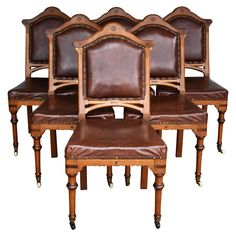For Sale on - For sale is a set of 6 Victorian oak dining chairs, upholstered in leather, raised on turned legs terminating on castors. All of the chairs are in good Oak Dining Room Chairs, Cool Furniture, 19th Century, Upholstery, Victorian, Photograph, Legs, Leather, Home Decor