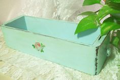 aqua vintage sewing drawer wooden box shabby chic by PrincessPeony, $15.00