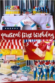 Boys Preppy Nautical First Birthday Decorations Party Food And Supplies For An Amazing Celebration