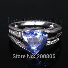 diamond vintage trillion 8mm solid 14kt white gold diamond tanzanite ring sr335