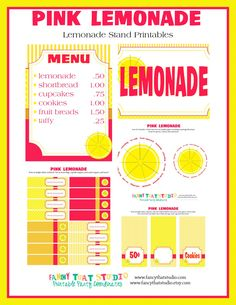 Inexpensive way to make that lemonade stand fabulous! Lemonade Stand Printables - Pink Lemonade Customized Party Printables FULL Collection - Immediate Download from Fancy That Studio