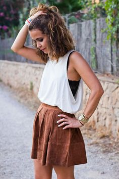 White top, tan suede skirt