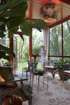 Stunning screened porch by Deborah Bettcher / Surya Rain Rug