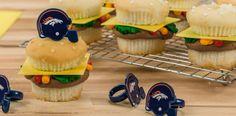 Cheeseburger cupcakes NFL Cupcake Rings