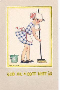 Annie BERGMAN Art Deco child scrubbing floor for New Year, 20-30s