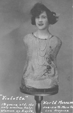 Meet Violetta (Aloisia Wagner) whom was a sideshow performer in the early 1900's. Having a talent for singing, using her rather odd appearance, she gained work in various sideshow acts flaunting both her voice and her looks.