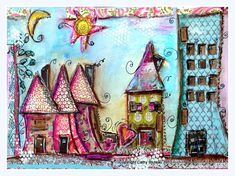 Print mixed media house prints colorful by cathymichaelsdesign, $20.00