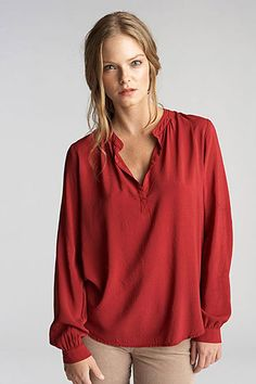 Rosie Half Placket Challis Blouse by Velvet by Graham & Spencer - great color