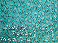 Readymade Brocade Saree Blouse rama green - small fine flowers - Sari Blouse - Saree Top - For Women